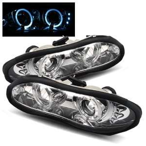 98 02 Chevy Camaro Chrome LED Halo Projector Headlights Automotive