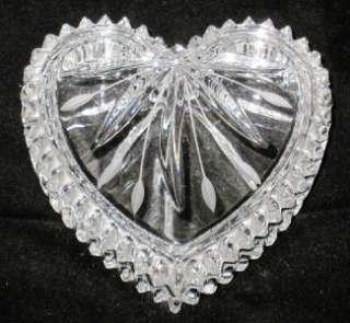 Wedgwood Crystal Heart Shaped Trinket Box, Fan Cut