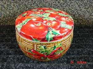 Vintage Avon Tin Apples Christmas Xmas Ivy Red Green
