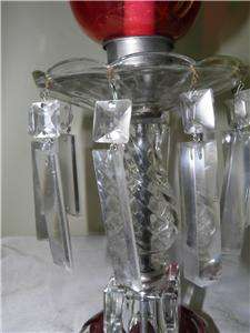 Hurricane Lustre Cranberry Etched Flash Shades Crystal Prisms Lamps