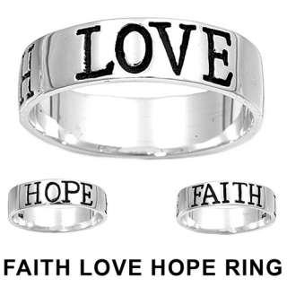 925 Sterling Silver LOVE HOPE FAITH Inspirational Ring