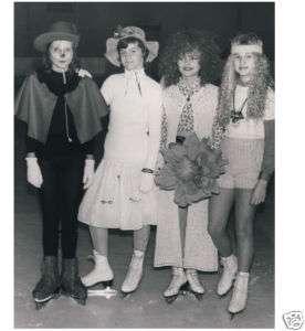 PRETTY COSTUME GIRLS ice skate at carnival PHOTO 1972