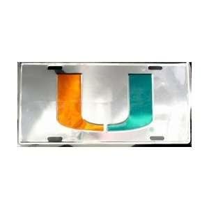 lp   984 Miami Hurricanes Chrome License Plate   50095