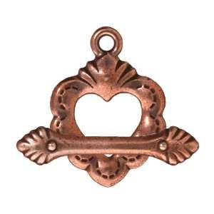 Copper Plated Pewter Dia De Los Muertos Sacred Heart Toggle Clasp 11mm