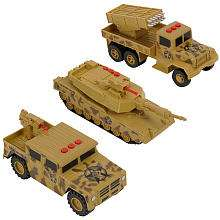 True Heroes Lights and Sounds Military Vehicles 3 Pack   Tank, Truck