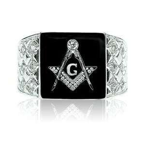 ES5448 Mens Silver Tone Black Masonic Emblem Ring Jewelry