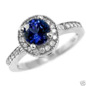 AAA BLUE CEYLON SAPPHIRE & DIAMONDS ENGAGEMENT RING 14k WHITE GOLD