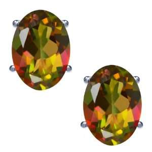 1.90 Ct Oval Mango Mystic Topaz 14K White Gold Basket Stud
