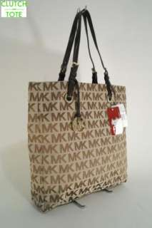 NWT Michael Kors Giftable Brown MK Logo PVC Large Jet Set Item Tote
