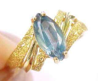 Blue Topaz Solitaire 14KT Solid Yellow Gold Ring Size 6