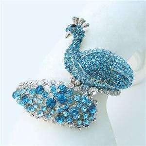 Bird Peacock Bracelet Bangle Blue Swarovski Crystal New