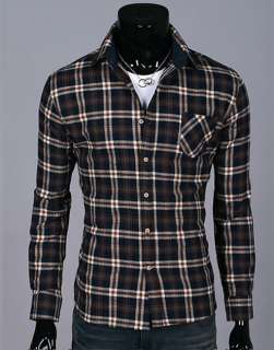 Mens Casual Check Plaid Dress Shirts Slim Fit