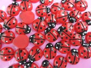 40PCS Red Resin Flatback Ladybug Button/bow/bow/Appplique