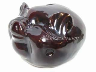 HAND CARVED MAHOGANY WOODEN WOOD MODEL FARM ANIMAL PIG PIGGY BANK