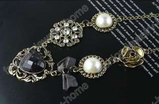 Hot Fashion glass pearl crystal Flowers charm Necklace pendant