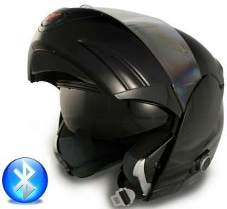 Bluetooth Black Large Modular Flip Up Motorcycle Scooter Helmet DOT L