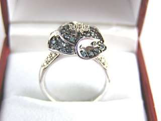 Blue & White Diamond Ring .75ct 925 Sterling Silver Size 6 List $