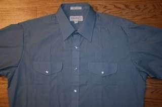 Vintage SHEPLERS Western Pearl Snap Cowboy short sleeve blue SHIRT Men