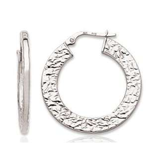 14k White Gold Stylish Texture Circle Hoop Earrings Jewelry