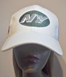 Crystal Rhinestone White Bling Ladies New York Jets Hat Cap SEE VIDEO
