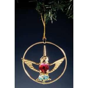 Hummingbird Color Swarovski Crystal 24k Gold Ornament