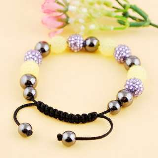 6Colors Braid Chain Bracelet 10mm(8p) Disco Crystal Ball 10MM(7p