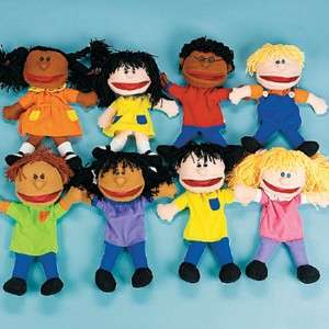 Multicultural Children 14 Plush Hand PUPPETS Kids