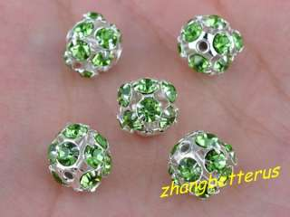 Pcs Silver Plated Rhinestone Spacer Beads Bracelet Charms Findings 8mm