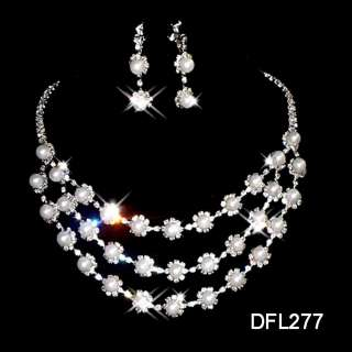 Wedding Bridal crystal Pearl necklace earrings set 277