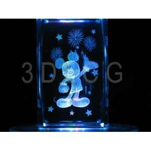 Disney Mickey Mouse with Fireworks 3D Laser Etched Crystal