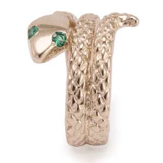 14k Solid Rose Gold Snake Emerald Eye Serpent Ring