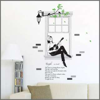 GIRL GUITAR WINDOW DECAL MURAL WALL DECOR STICKERS #250