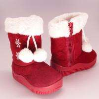 Baby Toddler Girls Faux Fur Trim Pom Poms Winter Booties Red Size 4