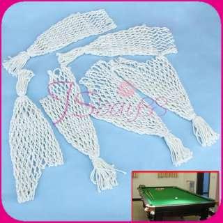 6Pcs Indoor Sport Billiards Pool Snooker Table Nylon Nets Pockets Bags