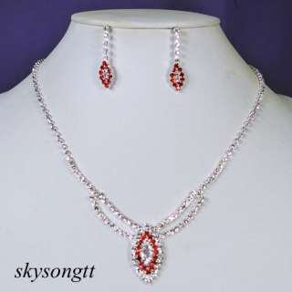 Ruby Red Rhinestone Crystal Bridal Pendant Necklace Earrings Set P017R