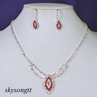Ruby Red Rhinestone Crystal Bridal Pendant Necklace Earrings Set P017R