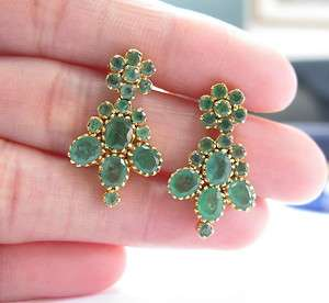 Vintage Colombian Emerald Yellow Gold Earrings, 22kt