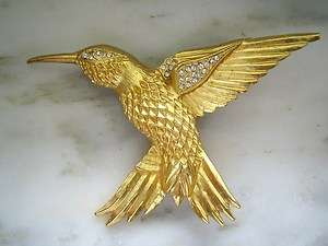 GOLD TONE RHINESTONE HUMMINGBIRD PIN or BROOCH