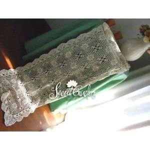 Vintage Handmade Crochet Off White Long Table Runner 15