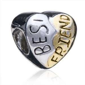 Best Friend Heart Charm Bead Fits Pandora Style Bracelet 11 x 11