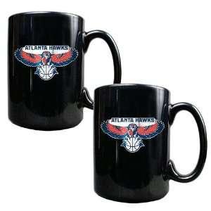 Atlanta Hawks NBA 2pc Black Ceramic Mug Set   Primary Logo