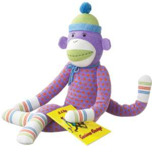 MONKEEZ Stuffed Yarn LARGE Plush Toy SOCK DOTS MONKEY