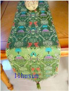 Noble Classic GREEN CHINESE SILK TABLE RUNNER CLOTH