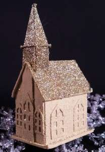 Vintage Putz Village Mica Glitter House Country Church Christmas Tree
