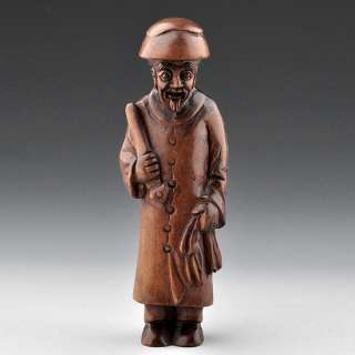 Hand Carved Boxwood Wood Netsuke Carving Ancient Man