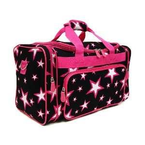 Hot Pink & Black Stars Print Duffle Bag 20 Everything