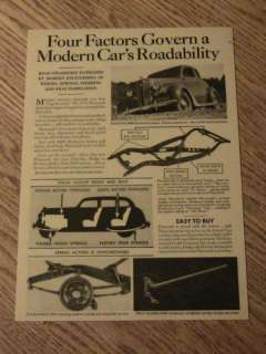 1936 PLYMOUTH CAR ADVERTISEMENT BODY STEERING AD DRIVE