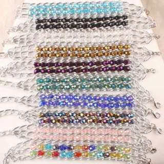 Wholesale Crystal Glass 2 Row Faceted Bead Chain Bangle Bracelet Mixed