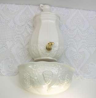 Pottery White Lavabo/Lavebo Wall Planter Basin Water Urn Set Grapes