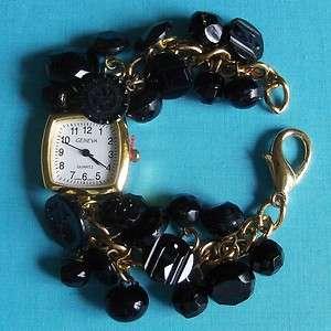 Antique Black Glass Button Charm Bracelet Watch 860